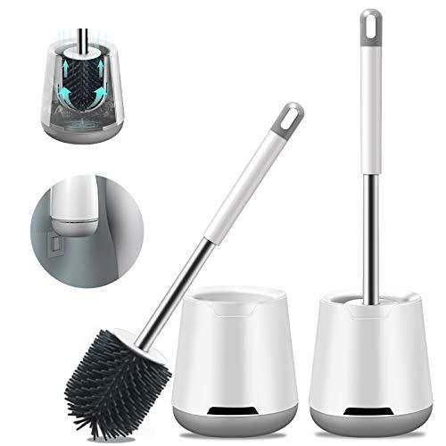 TWBEST Toilettenbürste,2er Packklobürste und Behälter,WC bürste silikon für Badezimmer mit schnell trocknendem Haltersatz,Zwei Installationsmethoden(Wandmontage & Stehen)