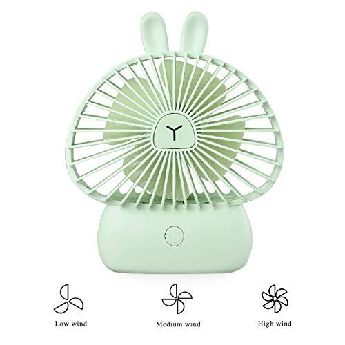 Leuke USB-ventilator Silent 4W Mini draagbare bureauventilator 3 instelbare snelheden met 7 kleuren LED nachtlampje ventilator kinderwagen ventilator konijntje ventilator voor kinderen meisjes