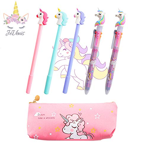 Set of 5 JeVenis Unicorn Pens Unicorn Pen Set Unicorn Ballpoint Pens Unicorn Pencil Pouch Bags for Party Office School Gift