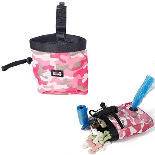 RC GearPro Pet Training Bag Hund Snacks Tasche, wasserdichte Outdoor-Welpen-Futterbeutel, tragen Leckereien Spielzeug Poop Bag Dispenser (Rosa)