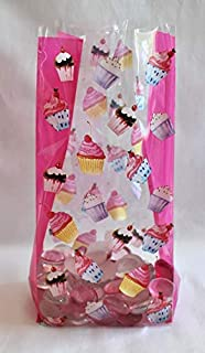 Happy Birthday Party Cupcakes Cello Cellophane Party Favor Treat Bags - Pack of 25 (Medium)