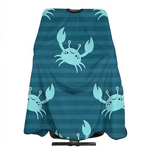 Cangrejo azul de dibujos animados profesional impermeable ajustable niños adultos capa de corte de pelo 55x66 pulgadas se adapta para peluquería y uso doméstico