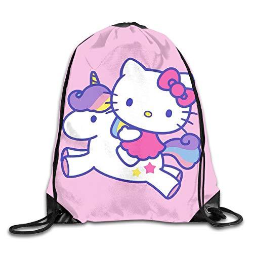 Liuyan Mochila con cordón Hello Kitty con unicornio, mochila de hombro, bolsa de deporte para hombres y mujeres