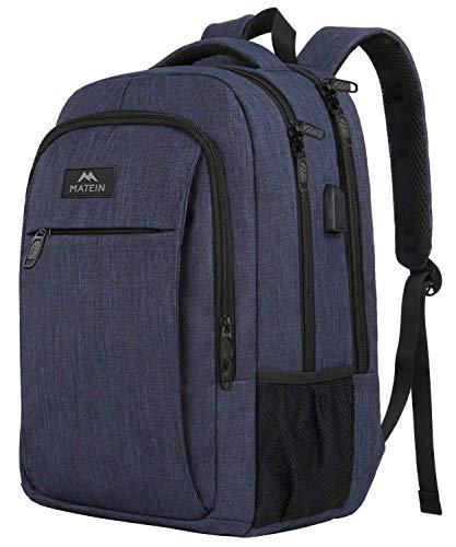 MATEIN Schulrucksack 15,6 Zoll Laptop Notebook Rucksack Backpack Schultasche für Studenten mit USB Ladeanschluss Jungen Computertasche Geschenk für Schule Jungen Mädchen Teenager Kinder - Navy