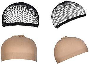 4 Piezas Gorras de Peluca, URAQT Redecillas Casquillo de Peluca de Nylon, Desnudo Beige Natural y Negro Malla