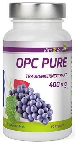 OPC Pure Traubenkernextrakt 400mg pro Kapsel - Traubenkerne aus Frankreich - Laborgeprüft - mind. 40{2b207cd7a448a86f1b70ca79f747205e1656aeedc69aa849c0bfa0c8cc728181} OPC-Anteil - 60 Kapseln - Hochdosiert - Premium Qualität