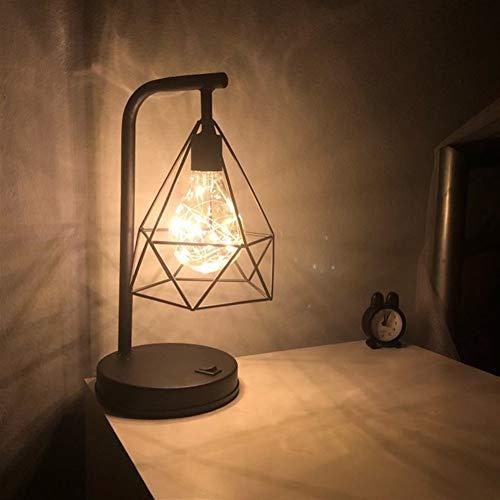 Retro Iron Art minimalistische tafellamp AA batterij Hollow Vorm van de Diamant Leeslamp Vintage nachtlampje for de slaapkamer bed verlichting (Emitting Color : White)