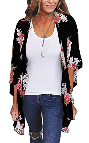 Women's Floral Print Short Sleeve Shawl Chiffon Kimono Cardigan Casual Blouse Tops(Black M)