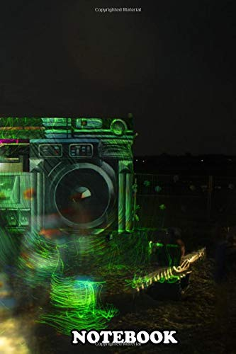 Notebook: Festival Stage Ghettoblaster In Laserlight , Journal for Writing, College Ruled Size 6