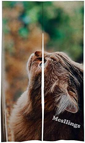 Mesllings deur en raamgordijngordijngordijnenset voor huisdecoratie 864 cm x 1422 cm bruine kat naar boven kijken