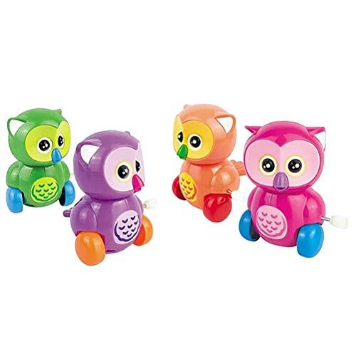 Toyvian 4 stücke Cartoon Tier uhrwerk Wind up Eule Spielzeug Kinder Baby Spielzeug pädagogisches Spielzeug Geschenk (gelegentliche Farbe)