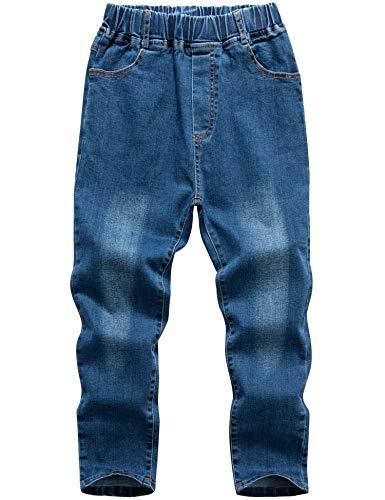 WIYOSHY Boys' Denim Jeans Elastic Waist Pants for Kids 3-12 Years (Blue, 10)