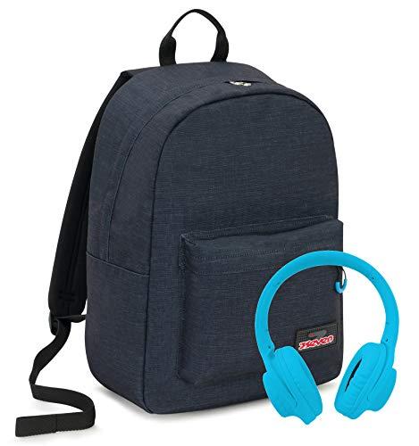 iMusicpack Seven, Nero, 27 Lt, Zaino con Cuffie Stereo Soft Touch, Tasca porta notebook 15'', Scuola & Tempo Libero