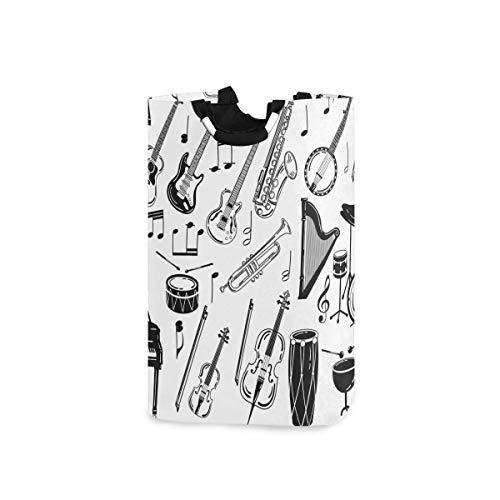 N\A Cesto de lavandería Cesto de Lavado de Ropa - Piano, Guitarra, Instrumento Musical, cesto de lavandería Plegable, Bolsa de lavandería de Gran Capacidad para baño, Universidad
