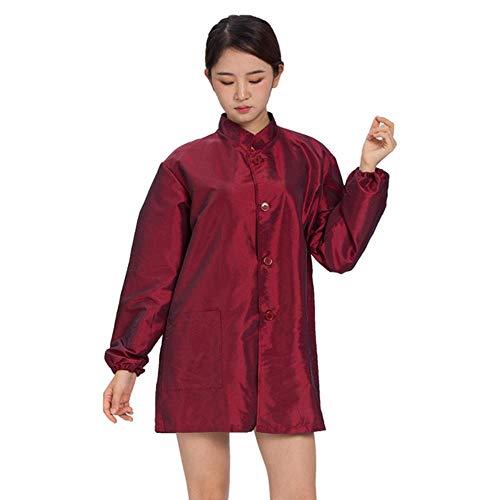 RMI Manches longues grand bouton design coiffeur poche tablier coiffeur imperméable tissu de travail uniforme noir gris rouge
