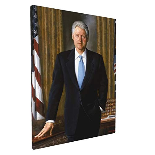 Bill Clinton Presidential Portrait Wall Art Decor Canvas Print Picture Framed Artwork Ready To Hang For Bedroom Home Living Room Wall Decoration 12x16in