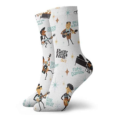 HJKAA Socken Rock Roll's Fashionable Colorful Funky Patterned Cotton Dress Socks 11.8 inch