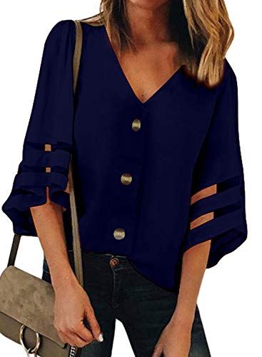 ZKESS Womens Button Down V Neck Loose Mash Half Long Sleeve Casual Shirts Blouses Tops Blue S