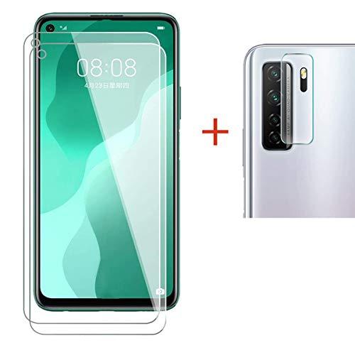 Protector de Pantalla Huawei P40 Lite 5G / Huawei Nova 7 SE Cristal Templado+ Cámara Protector [9H Dureza][Alta Definición] Vidrio Templado para Huawei P40 Lite 5G (2 Piezas)