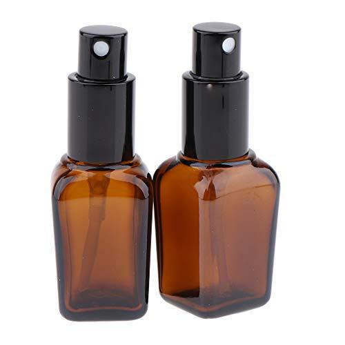 SM SunniMix 2x 30ml Flacon Vaporisateur Vide Ambré Bouteille en Verre Spray Pour Huiles Essentielles, Aromathérapie, Parfums, Massages - 20ml