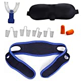 Anti Snoring Solution Package – Chin Strap – Throat Airway Passage Opening Device – Nasal Dilators – Eye Mask – Ear Plugs – Complete Snore Kit