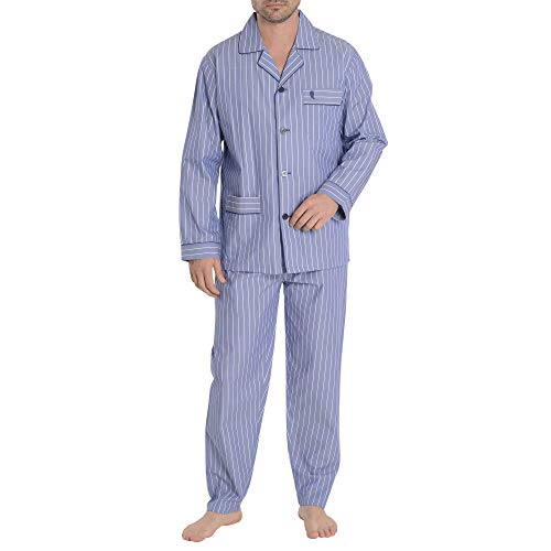 El Búho Nocturno Pijama de Caballero de Manga Larga clásico a Rayas de Tela popelín de algodón para Hombre L Azul Olímpico