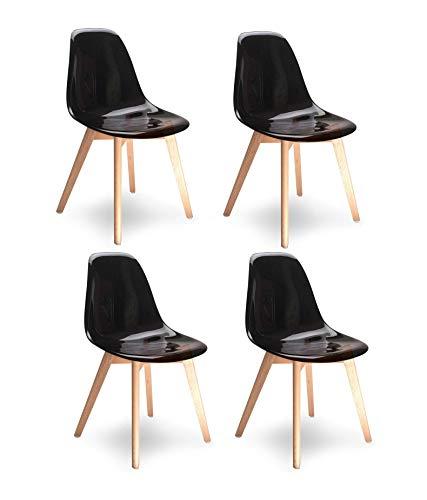 Meubletmoi 4 chaises Noires Transparentes Style scandinave - Assise en Polycarbonate Haute qualité - Pieds en Bois de hêtre – Collection Oslo
