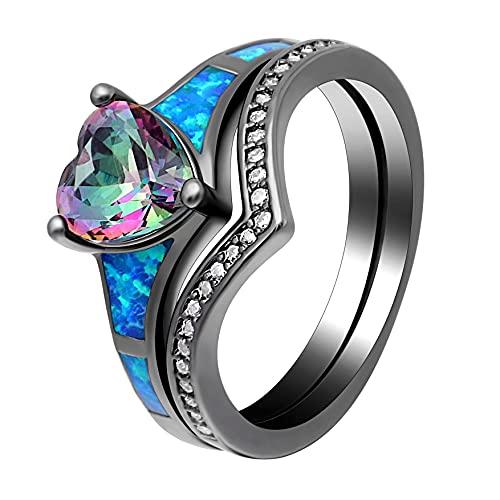 2 piezas de anillos de ópalo de fuego de corazón para mujer, joyería de moda vintage, juego de anillos de piedra natal azul arcoíris con relleno de oro negro, 6 arcoíris negro