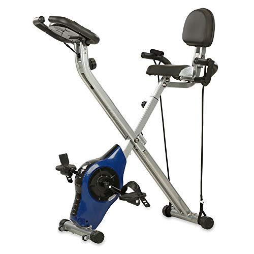 maxVitalis Heimtrainer, X-Bike mit Handpulssensoren, 8 Widerstandsstufen, Ergometer inkl. Expanderbänder, kompakt und klappbar, Fitness Bike mit Trainingscomputer, gelenkschonendes Cardio-Training