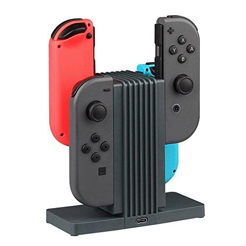 Nintendo Switch Joy-Con Ladestation Ladegerät um gleichzeitig 4 Joy Con Controller zu laden, mit LED-Ladeanzeige, Stecksystem, grau