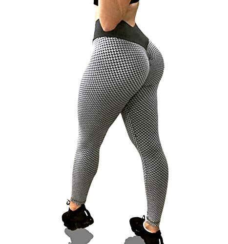 KINGJOZE High Waisted Yoga Pants for Women Stretchy Tummy Control Butt Lifting Booty Textured Leggings Running Workout Tights (Gray, Medium)