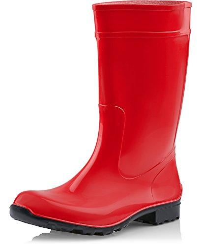 Ladeheid Botas de Agua Antideslizantes en PVC Mujer LA-967 (Rojo/Negro, 39 EU)