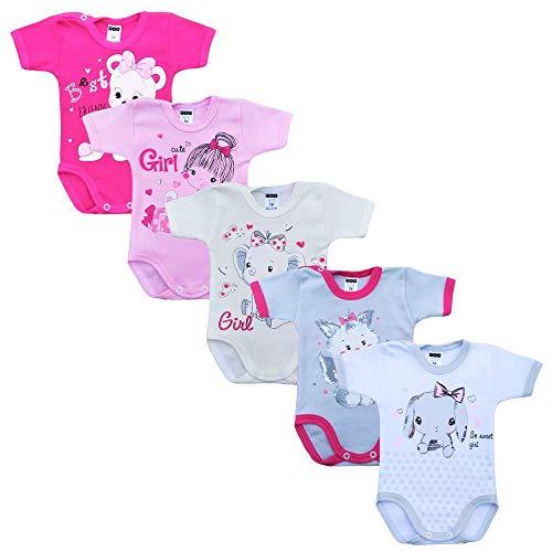 MEA BABY Unisex Baby Kurzarm-Body mit Aufdruck aus 100{62cc6c2a795ca4d5b71170885dd56539ab13c05e43644a9335efb7dcdfcb871a} Baumwolle im 5er Pack, Baby Body mit Aufdruck, Baby Body für Madchen, Baby Body für Jungen (Mädchen, 56)