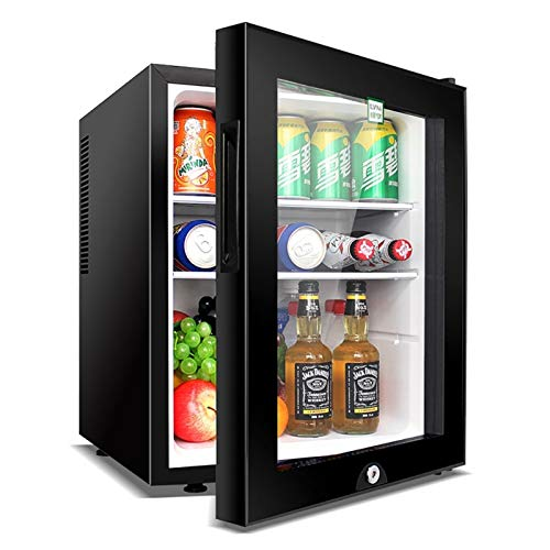 QIU Mini Nevera, refrigerador, refrigerador 40 litros 5 Etapa Temperatura Ajustable Clase de Silencio Habitaciones de Hotel o dormitorios Puerta de Vidrio Transparente