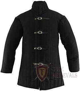 Medieval Gambeson Thick Padded Coat Aketon Jacket Armor - Black Cotton Fabrics