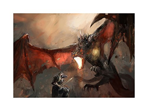 The Art Stop Painting Illustration Fantasy Dragon Slayer Battle Cool Print F12X4729