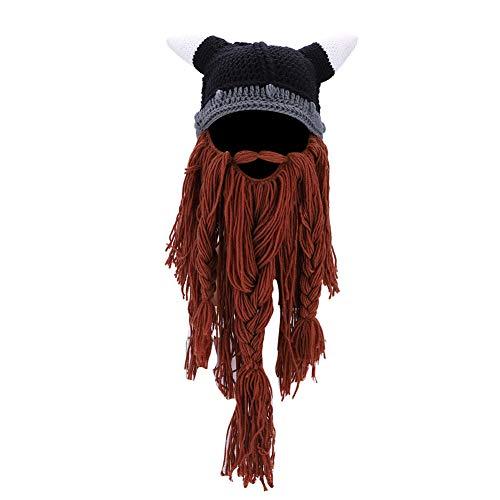Dilwe Sombrero de Barba de Punto Mujeres Hombres Vikingo Pirata Cosplay Sombrer Máscara de Barba Completa Fiesta de Cumpleaños Halloween