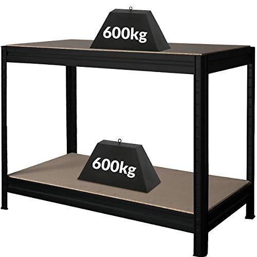 Höhenverstellbare Werkbank | HxBxT 870 x 1200 x 600 mm | Tiefe 60 cm | Traglast 600 kg | Werktisch Arbeitstisch Steckmontage Stahltisch | Schwarz
