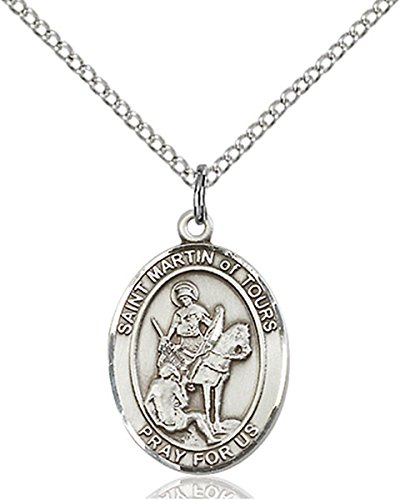 Patron Saints by Bliss Sterling Silver Saint Martin of Tours Medal Pendant, 3/4 Inch