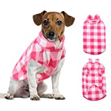 ASENKU Dog Sweater, Plaid Dog Fleece Vest, Soft Comfortable Pet Pajamas, Warm Winter Dog Shirt, Cold Weather Coat Jacket Pet Clothes for Small & Medium Dog Breeds, Pink, XXS
