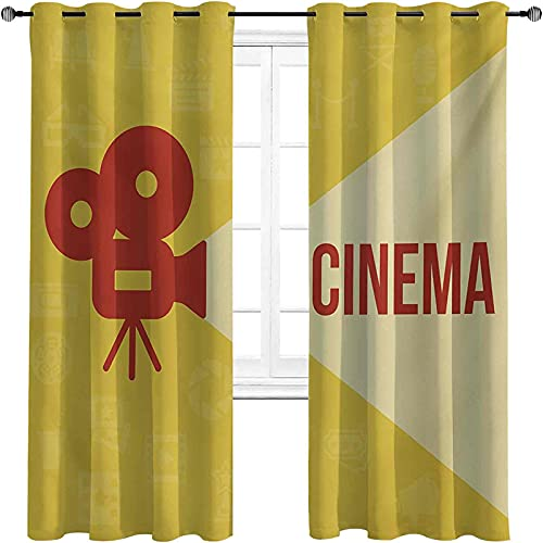 Movie Theater High-Strength Blackout Curtains, Projector Silhouette with Cinema Quote Movie Symbols Background, 2 Panels per Group W52 x L63 Inch Dark Coral Beige Yellow