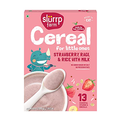 Slurrp Farm Baby Cereal, Ragi, Rice and Strawberry with Milk, Instant Healthy Wholesome Food