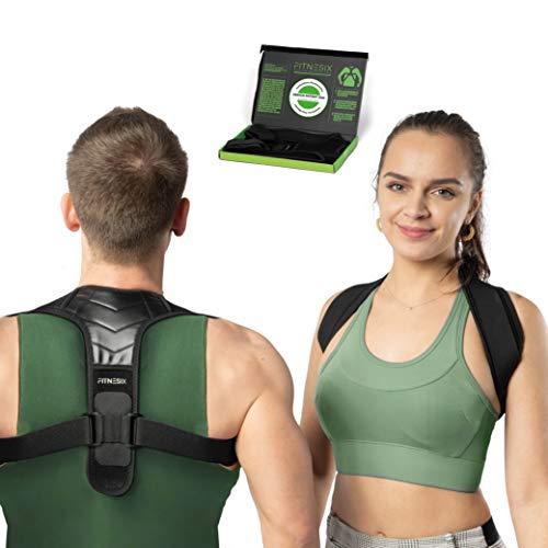 FITNESIX® - Geradehalter zur Haltungskorrektur - DESIGNPATENT 2021 - Rückenstütze für Damen & Herren mit bodydynamischen elastischen Bändern - M/L