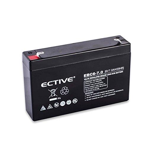 Preisvergleich Produktbild ECTIVE Bleiakku 6V 7Ah Blei Akku EBC-Serie in 6 Varianten: 1, 3Ah - 12Ah (wartungsfrei)