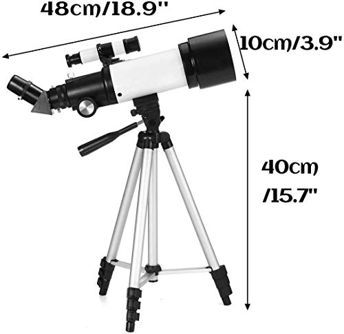Qianqiusui Astronomisches Teleskop, astronomisches Teleskop 300mm 336x tragbarer astronomischer Refraktometer mit Stativ und Finder Anblick for Kinder Anfänger (Color : White, Size : 48x10x40cm)