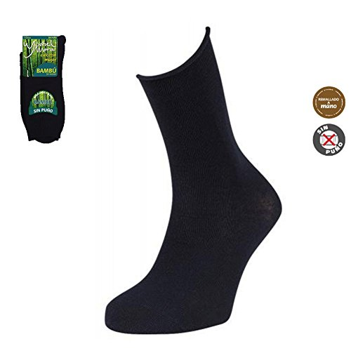Calcetines de Bambú Sin Puño Ysabel Mora Pack-3 (NEGRO