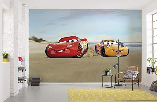 Komar Disney Fototapete Cars Beach Race | Größe: 368 x 254 cm (Breite x Höhe) | Tapete, Kinder, Wand, Kinderzimmer, Dekoration - 8-4100