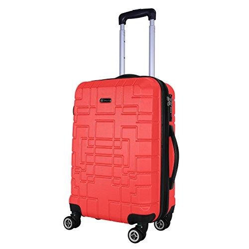SHAIK® Serie XANO HKG Design Hartschalen Trolley, Koffer, Reisekoffer, in 3 Größen M/L/XL/Set 50/80/120 Liter, 4 Doppelrollen, TSA Schloss (Handgepäck M, Rot)