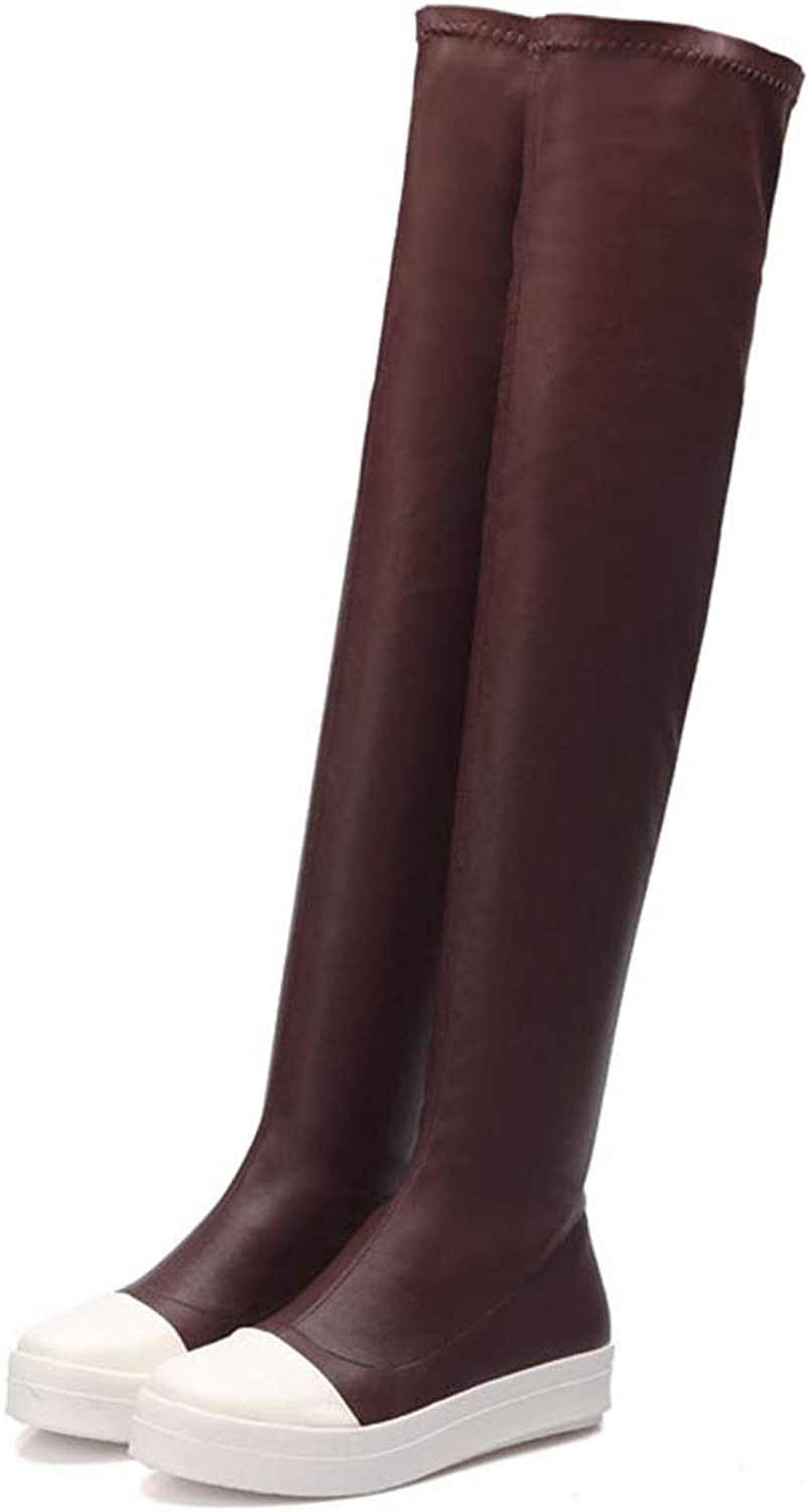 Sam Carle Women Boots, Winter Fashion Solid Clor PU Round Toe Over The Knee Boots