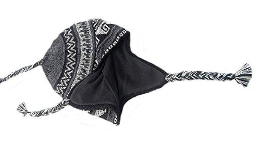 Alpacaandmore Unisex Chullo Mütze Strickmütze Alpakawolle dick gestrickt grau mit Vlies gefüttert Inka Muster Einheitsgröße